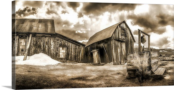 Bodie Ghost Town Well, Sepia Panoramic Canvas