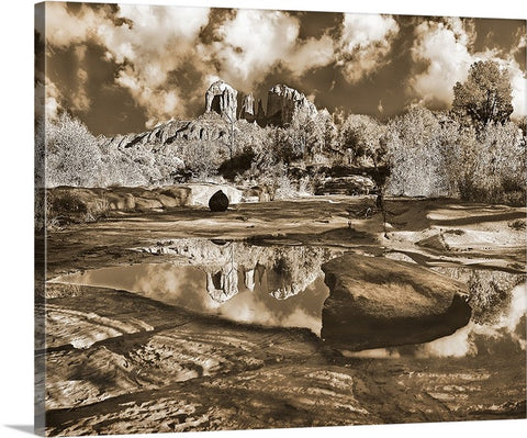 Cathedral Rock Sepia Canvas
