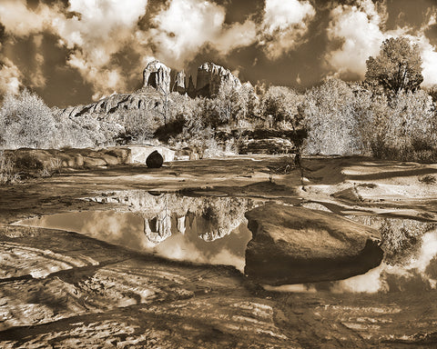 Cathedral Rock Sepia Metal Print