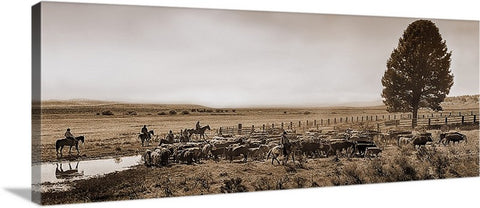 High Country Cattle Drive Sepia Panoramic Canvas