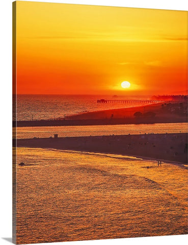 Newport and Balboa Beaches and Pier Vertical, California Canvas