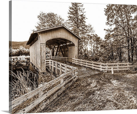 Covered Bridge Sepia, Pacific Northwest Canvas