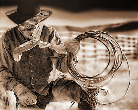 Cowboy and Rope Sepia Metal Print
