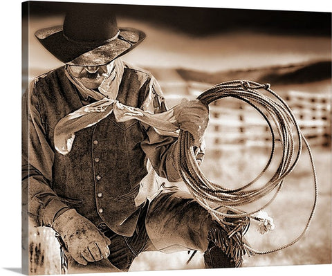 Cowboy and Rope Sepia Canvas