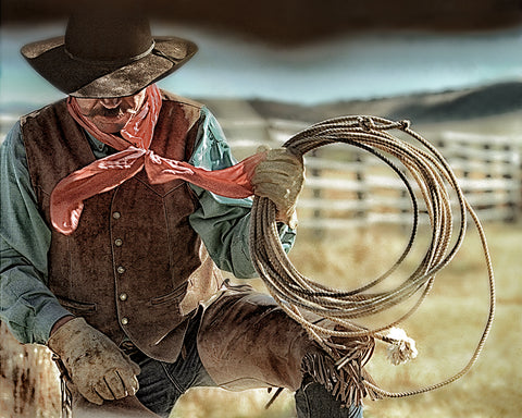 Cowboy and Rope Metal Print