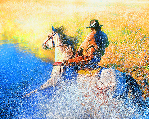 Cowboy Splash Metal Print
