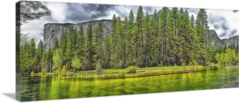 El Capitan and Yosemite Falls Panoramic Canvas