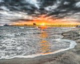 Fire and Sand, Oceanside Pier, California Sunset Metal Print