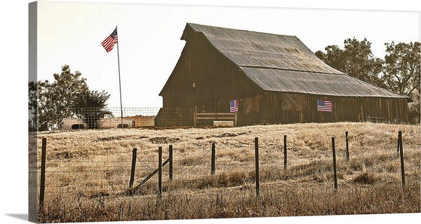 Flag Barn Panoramic Canvas