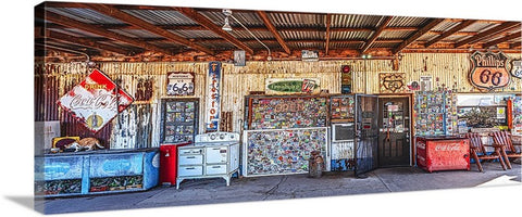 General Store, Route 66, Hackberry, Arizona Panoramic Canvas