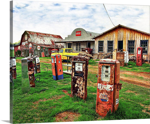 Rusty Gas Pumps Canvas