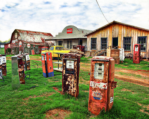 Rusty Gas Pumps Standard Art Print