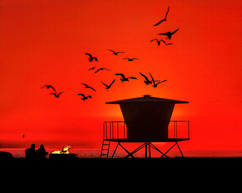 Glorious Summer Evening, Lifeguard Tower and Bonfire Metal Print