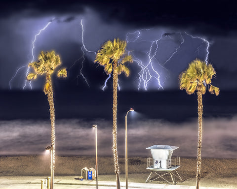 Lifeguard Tower Number 1, Electrical Storm, Oceanside Pier, California Standard Art Print