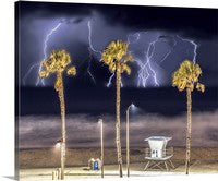 LIfeguard Tower Number 1, Electrical Storm, Oceanside, California Canvas