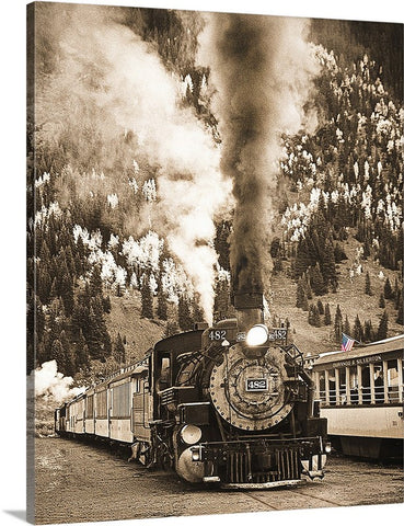 Locomotive to the Past Sepia Canvas