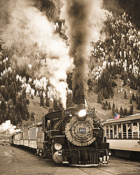 Locomotive to the Past Sepia Standard Art Print