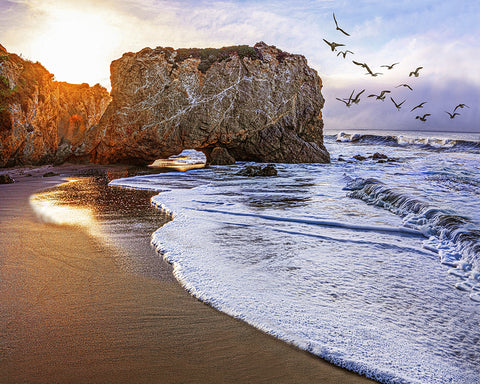 El Matador Beach Sunrise, Malibu, California Metal Print