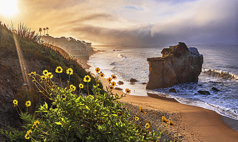 El Matador Bluffs Sunrise Panoramic, Malibu, California Metal Print