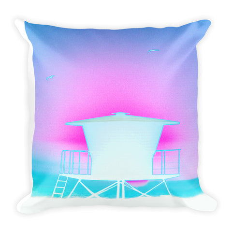 Lifeguard Tower Square Pillow