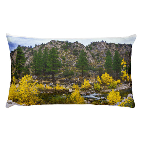 Autumn Color River Panorama Rectangular Pillow