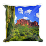 Superstition Mountains and Full Moon Square Pillow