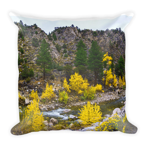 Autumn Colored River Square Pillow