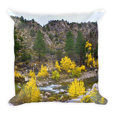 Autumn River Square Throw Pillow