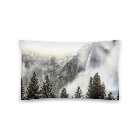 Yosemite Falls Winter Basic Throw Pillow