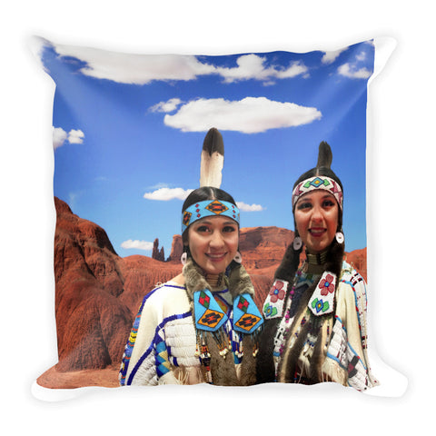 Red Rock and Indian Girls Square Pillow