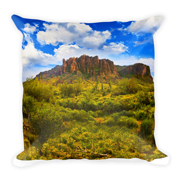 Superstition Mountains Springtime Square Pillow