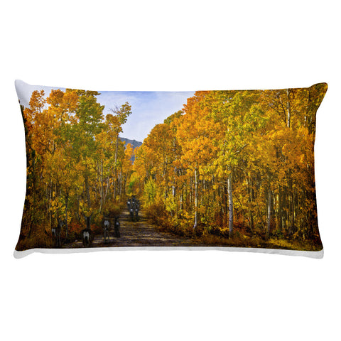 Autumn Color and Deer Run Rectangular Pillow