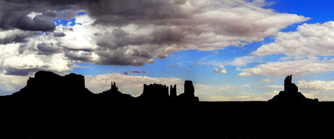 Monument Valley Silhouette Panoramic Metal Print