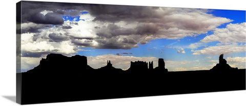 Monument Valley Silhouette Panoramic Canvas