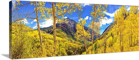 Mountains of Gold Panoramic Canvas
