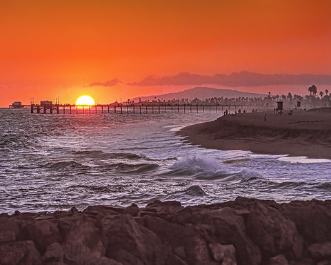 Newport and Balboa Piers, Sunset Standard Art Print