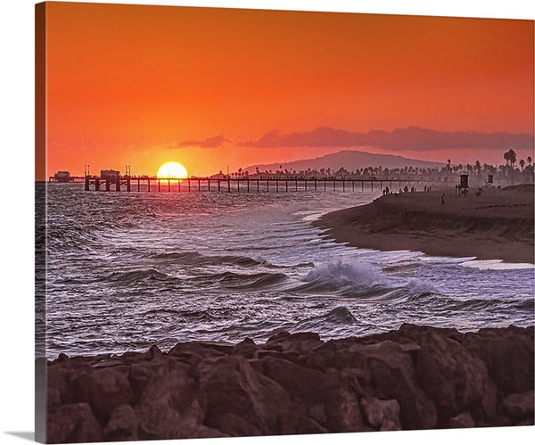 Newport and Balboa Piers, Sunset Canvas
