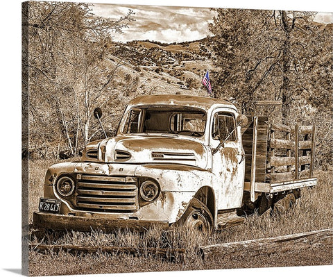 Old Ford and Old Glory Sepia Canvas