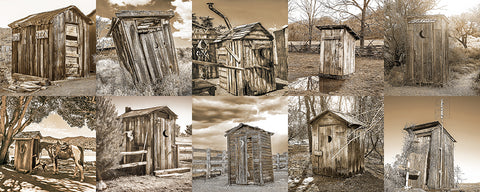 Outhouse Horizontal Sepia Collection Metal Print