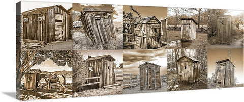 Outhouse Horizontal Sepia Collection Panoramic Canvas