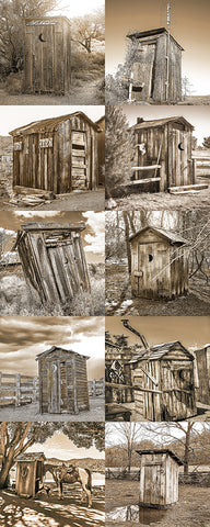 Outhouse Vertical Sepia Collection Metal Print