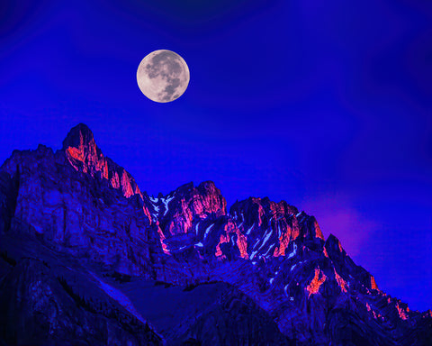 Full Moon Over The Watchman, Zion National Park Metal Print