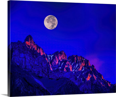 Full Moon Over The Watchman, Zion National Park Canvas