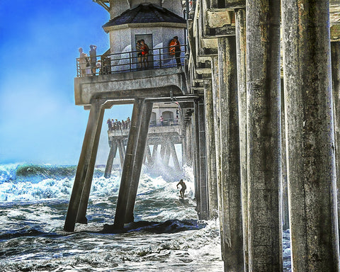 Ready to Shoot the Pier Metal Print