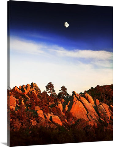 Red Rocks and Moon, Prescott Canvas