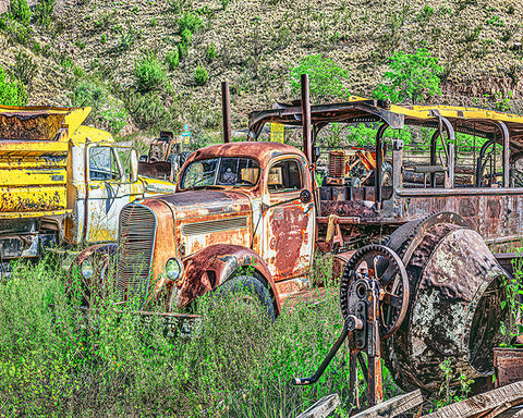 Construction Comes to a Halt! Jerome, Arizona Standard Art Print
