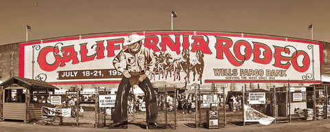 Historic Entrance Gate, California Rodeo Salinas Panoramic Metal Print