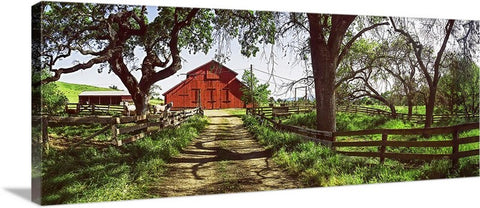 Horse Barn Panoramic Canvas