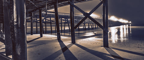 Sticks and Shadow, San Clemente Pier, California 3 am Panoramic