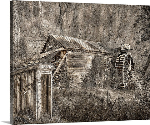 Mountain Man Office and Sawmill Sepia, South Carolina Canvas